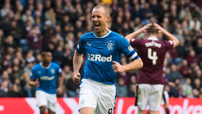 Rangers' Kenny Miller celebrates his second goal of the game