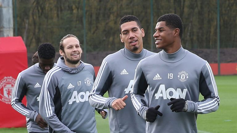 Marcus Rashford, Chris Smalling and Daley Blind take part in first team training at Manchester United's Aon Training complex