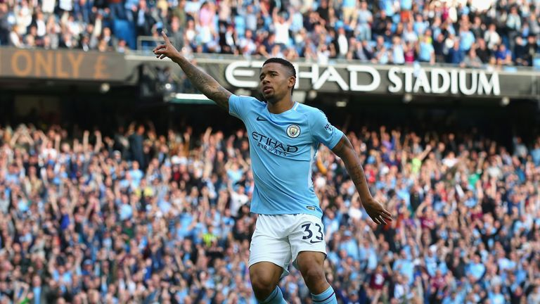 Gabriel Jesus celebrates scoring Manchester City's fourth goal against Stoke
