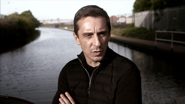 Gary Neville is on a canal boat.