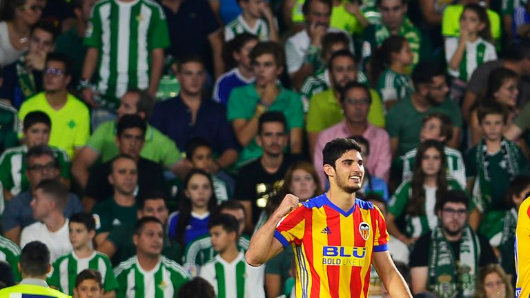 Valencia's Portuguese forward Goncalo Guedes celebrates after scoring a goal during the Spanish league football match Real Betis FC vs Valencia FC at the B