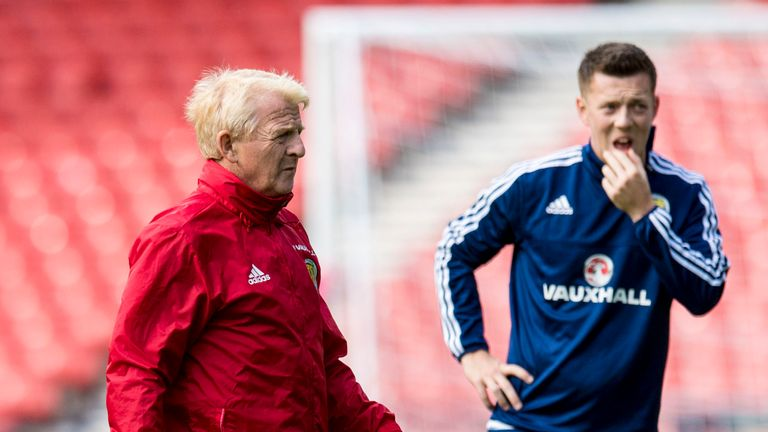 Gordon Strachan (left) with Callum McGregor training at Hampden