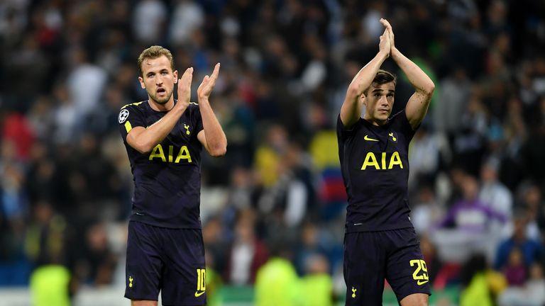 Harry Kane of Tottenham Hotspur and Harry Winks of Tottenham Hotspur show appreciation to the fans