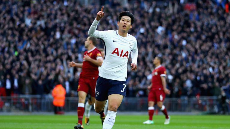 Heung-Min Son celebrates scoring Tottenham's second goal against Liverpool