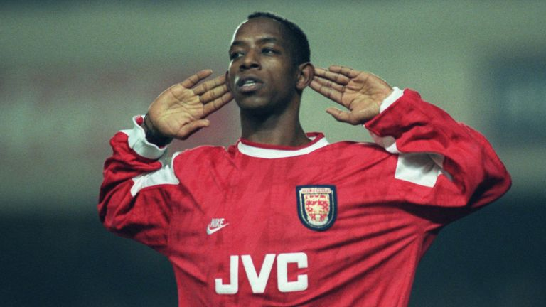 10 JAN 1996:  Ian Wright of Arsenal listens to the cheers of the supporters after he scored in the Coca Cola Cup quarter final