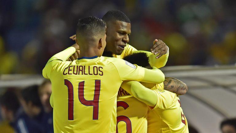 Ecuador's Romario Ibarra (covered) celebrates