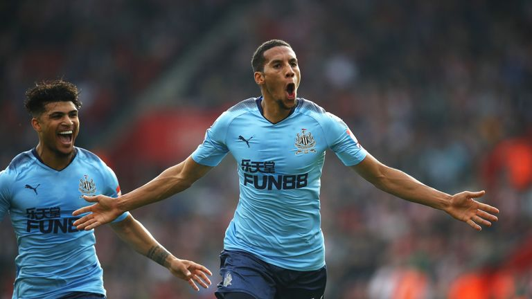 Isaac Hayden celebrates his first Premier League goal