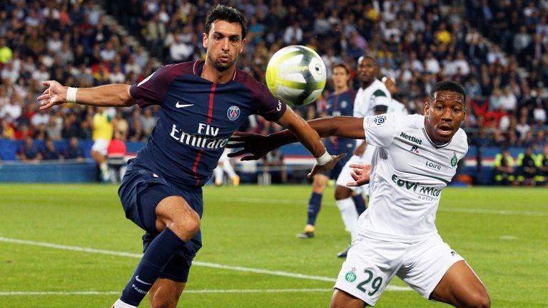 Javier Pastore in action during Ligue 1 match between Paris Saint Germain and Saint Etienne