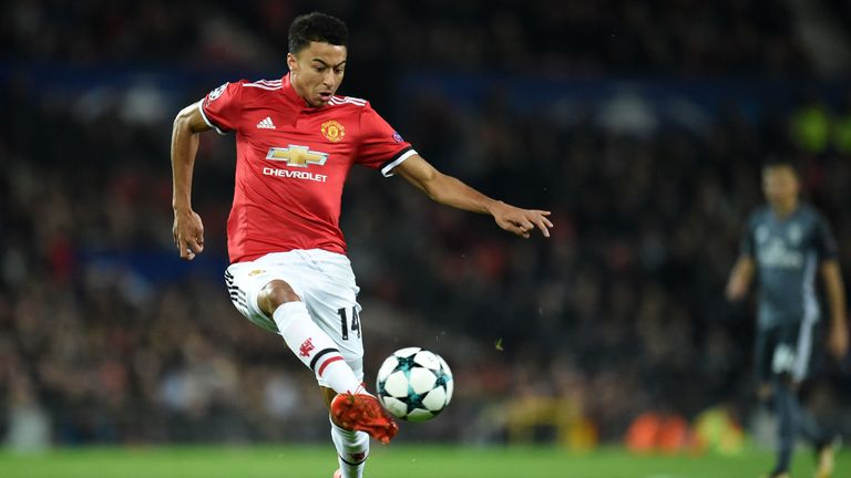 Manchester United's English midfielder Jesse Lingard controls the ball during the UEFA Champions League Group A football match between Manchester United an