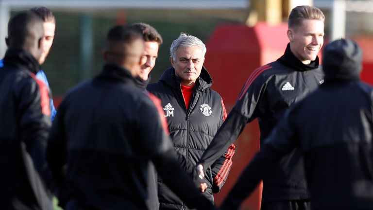 Manchester United manager Jose Mourinho during a training session at the AON Training Complex