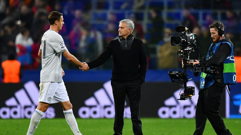 Manchester United manager Jose Mourinho (R) insists he got the player he wanted in Nemanja Matic (L)