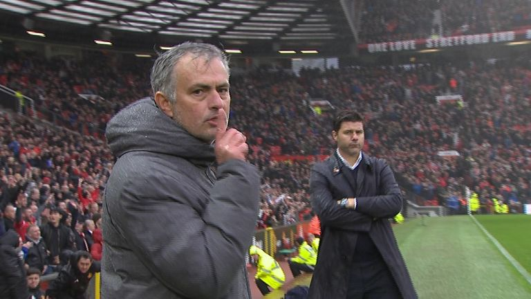 Jose Mourinho shushed the camera after his side beat Spurs