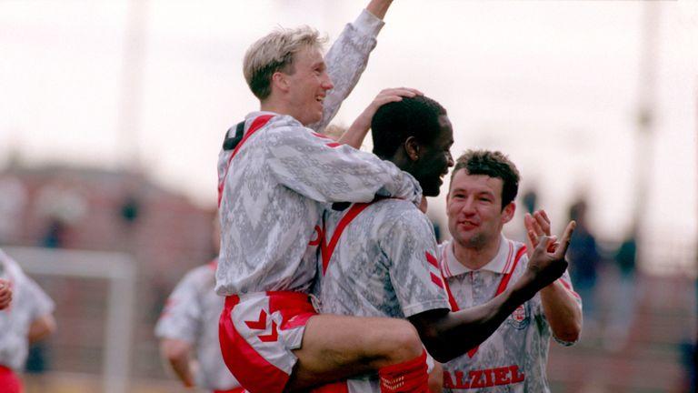 Justin Fashanu celebrates scoring for Airdrie v Aberdeen, April 1993