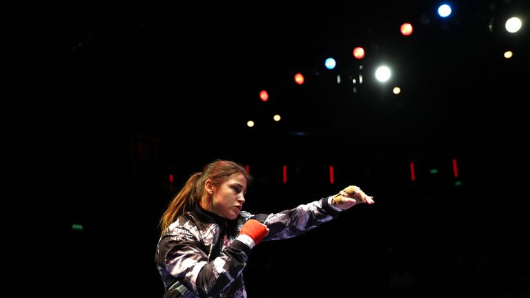 LONDON, ENGLAND - MARCH 01:  Katie Taylor of Ireland in action as she attends the Media Work Out at The O2 Arena on March 1, 2017 in London, England.  (Pho