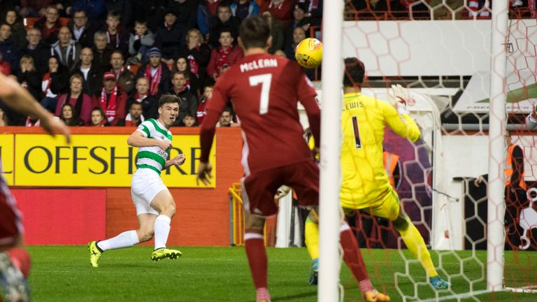 The outstanding Kieran Tierney opens the scoring at Pittodrie