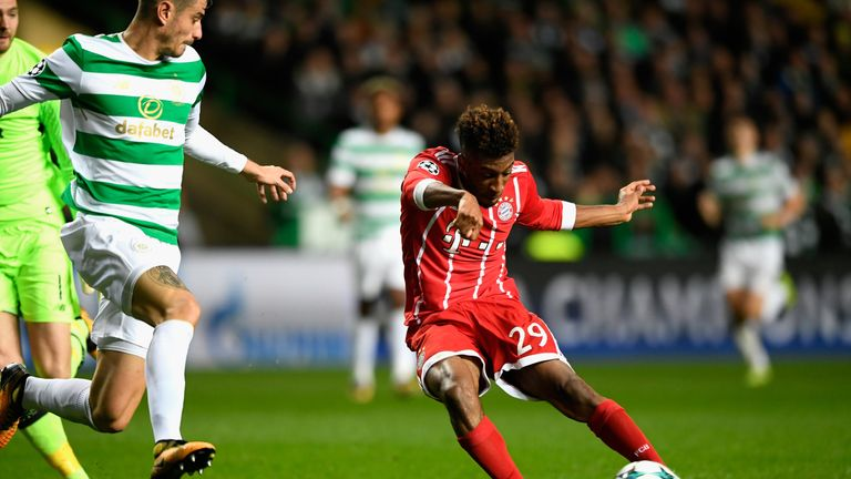 Kingsley Coman's goal set Bayern Munich on their way to a win which knocked Celtic out of the Champions League