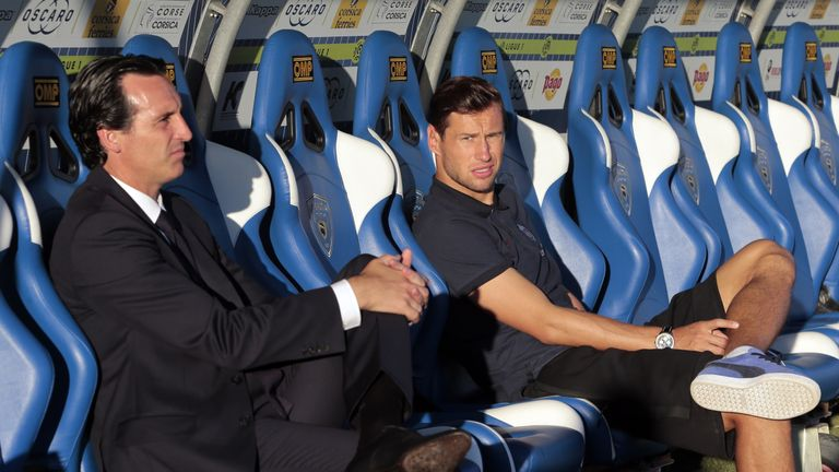 Krychowiak (R) started just seven times under PSG boss Unai Emery