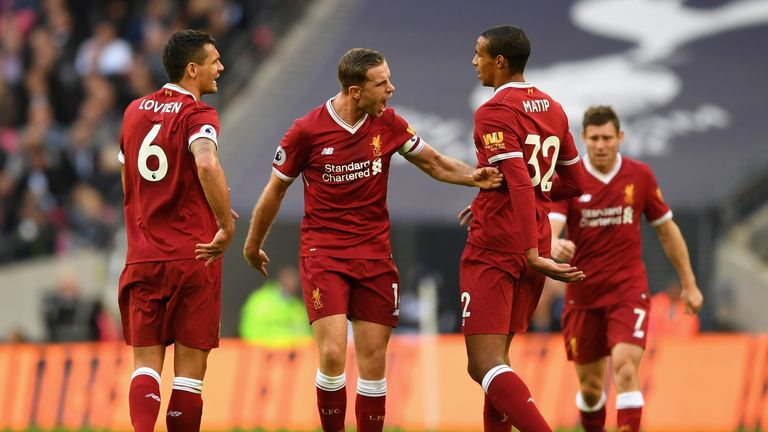 Liverpool captain Jordan Henderson shows his frustration