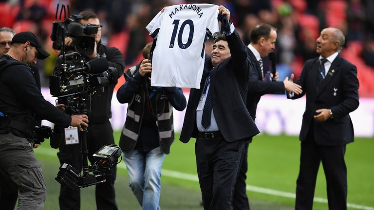 Diego Maradona Watches Former Team Mate Mauricio Pochettino S Tottenham At Wembley Football News Sky Sports