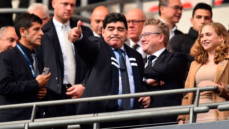 Maradona was present to see Kane score two goals in Tottenham's 4-1 over Liverpool