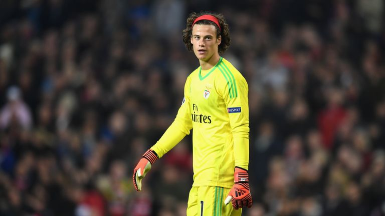 MANCHESTER, ENGLAND - OCTOBER 31:  Mile Svilar of Benfica looks dejected following his own goal during the UEFA Champions League group A match between Manc