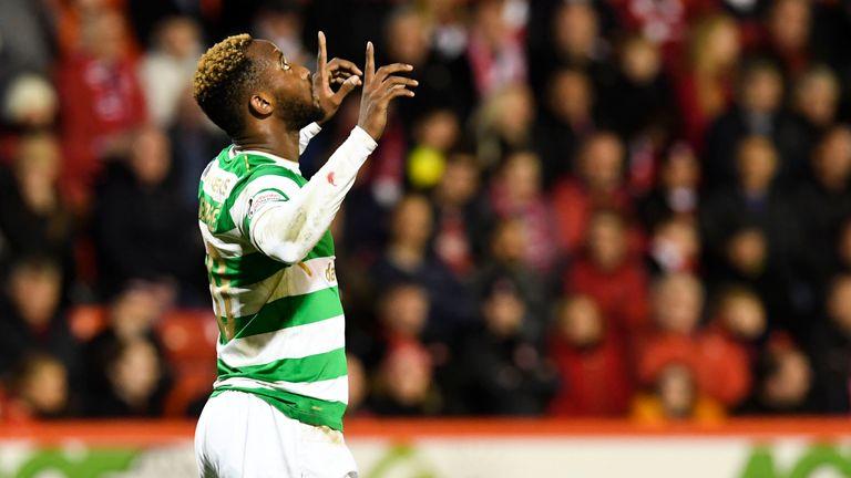 Moussa Dembele celebrates after scoring Celtic's second goal