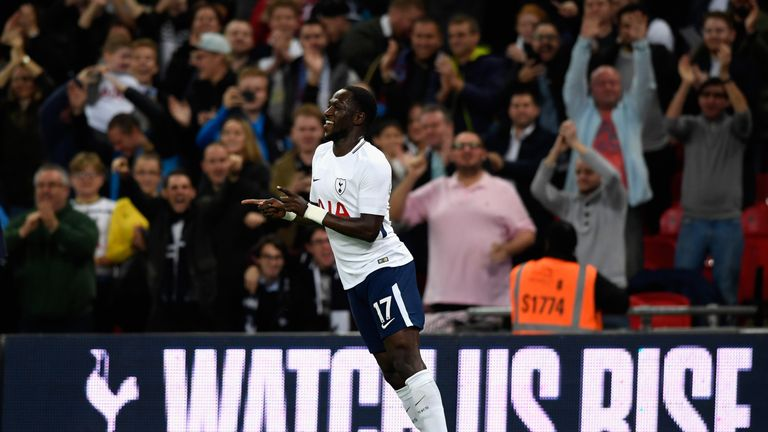 Moussa Sissoko celebrates after opening the scoring
