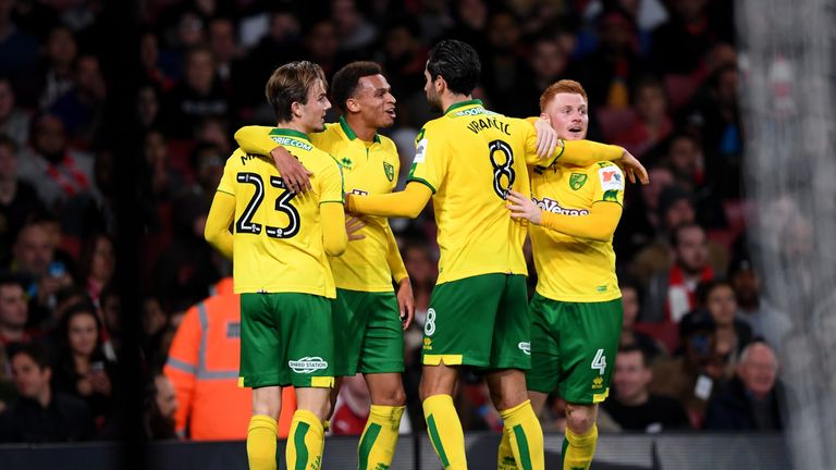 LONDON, ENGLAND - OCTOBER 24:  Josh Murphy of Norwich City celebrates with teammates after scoring his sides first goal  during the Carabao Cup Fourth Roun
