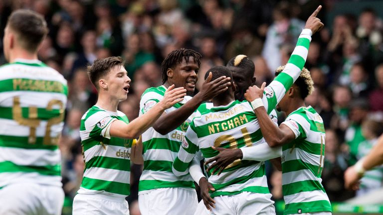 Olivier Ntcham celebrates after scoring Celtic's winner against Dundee