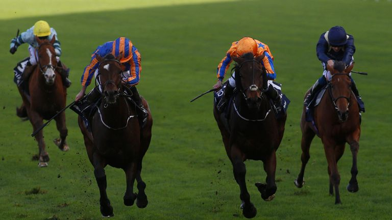 Order of St George and Ryan Moore (left) win the QIPCO British Champions Long Distance Cup