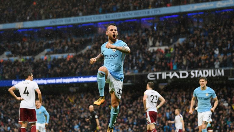 Nicolas Otamendi of Manchester City celebrates scoring the 2nd Manchester City goal during the Premier League match between Man City and Burnley