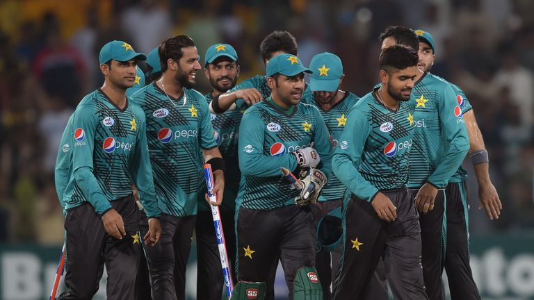 Pakistan players celebrate during the T20 series against a World XI in Lahore in September