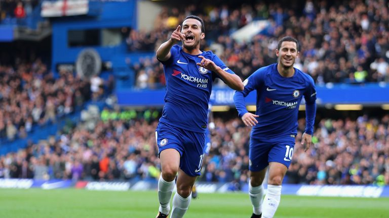 Pedro celebrates opening the scoring for Chelsea