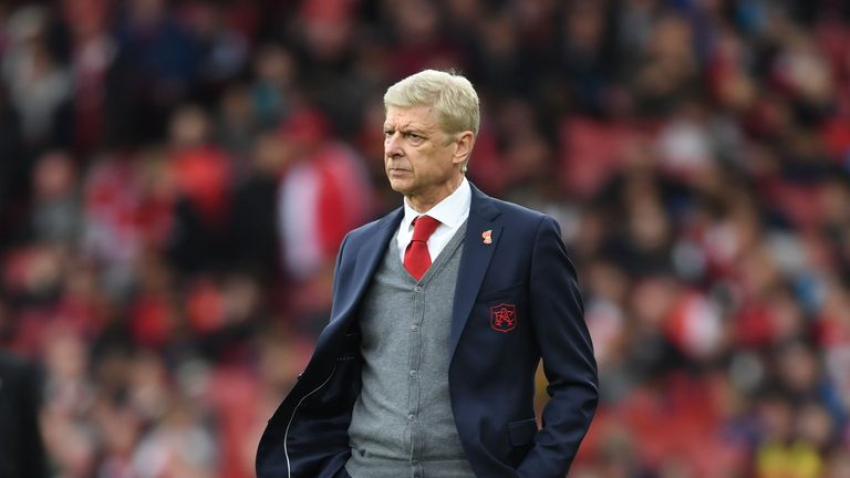 Arsene Wenger during the Premier League match between Arsenal and Swansea City at Emirates Stadium on October 28, 2017 in London, England