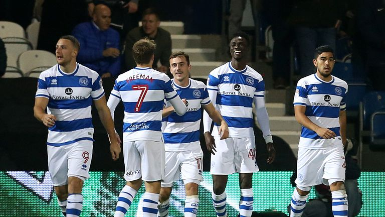 Queens Park Rangers' Idrissa Sylla celebrates scoring his side's first goal of the game with team-mates during the game v Sheffield United at Loftus Road