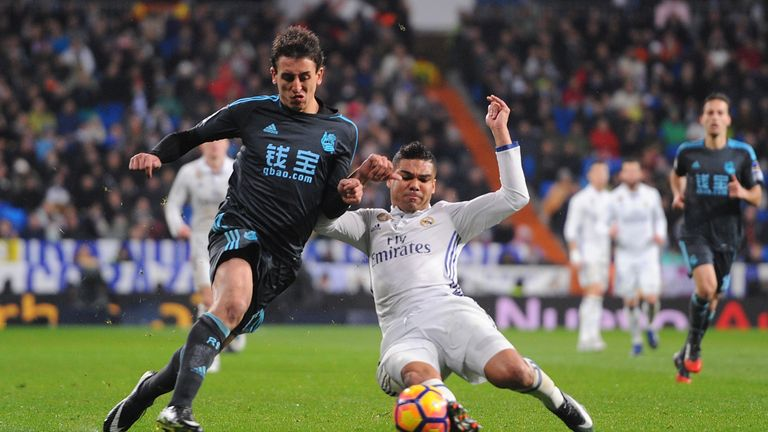 Mikel Oyarzabal in action for Real Sociedad against Real Madrid