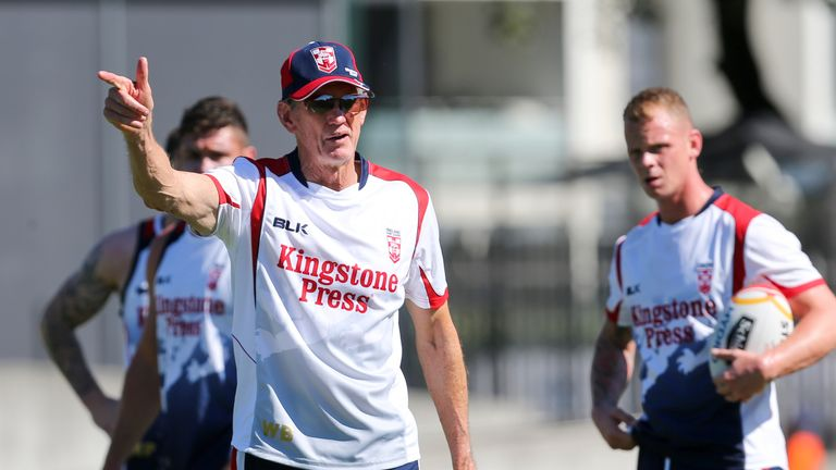 England head coach Wayne Bennett coaches Mead at Brisbane Broncos