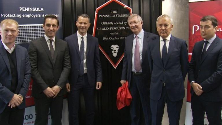 Sir Alex Fegruson opens the new Peninsula Stadium, the home of Salford City.