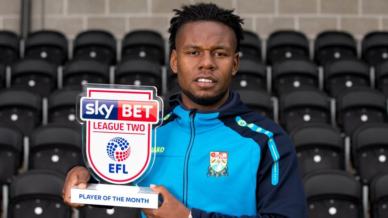 Shaquile Coulthirst has won Sky Bet League Two Player of the Month