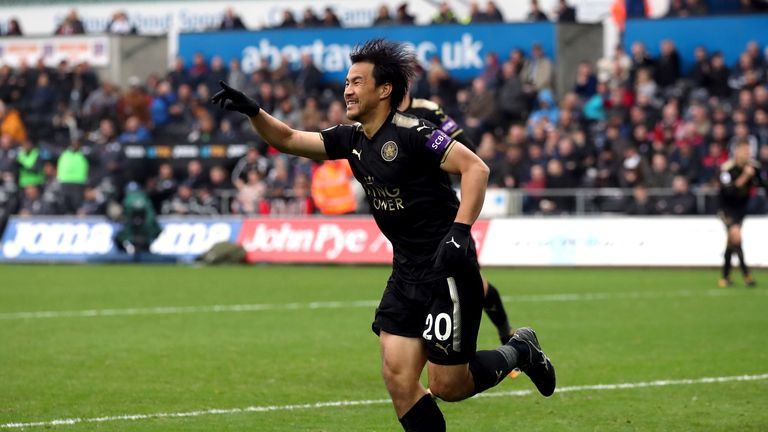 Leicester City's Shinji Okazaki celebrates scoring his side's second goal of the game during the Premier League match at the Liberty Stadium, Swansea.