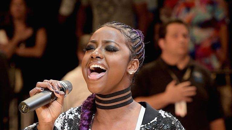 Singer Justine Skye pictured at the Brooklyn Center July