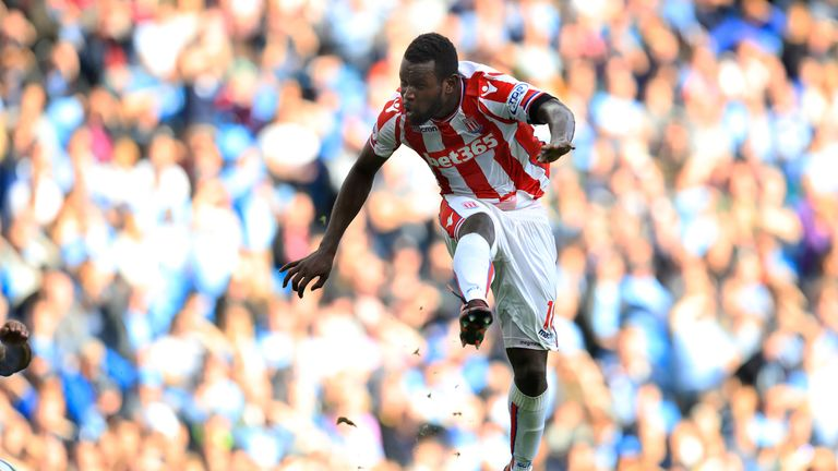 Mame Biram Diouf scores for Stoke against Manchester City
