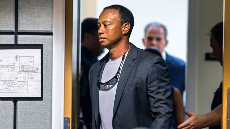 Tiger Woods enters Palm Beach County in Florida on Friday