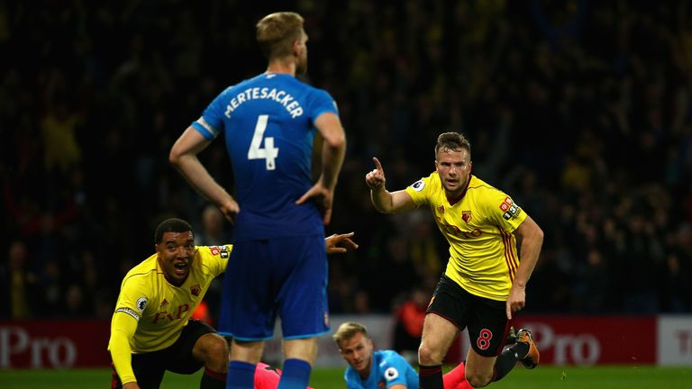 Tom Cleverley scored Watford's late winner against Arsenal