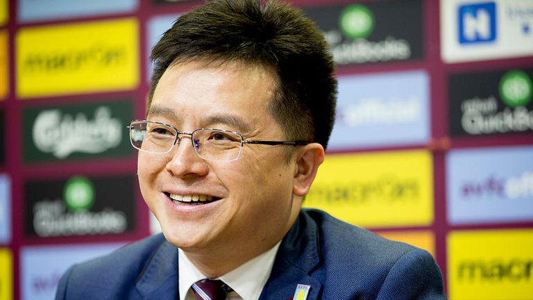 Tony Xia new owner and chairman of Aston Villa talks to the press during a press conference at Villa Park