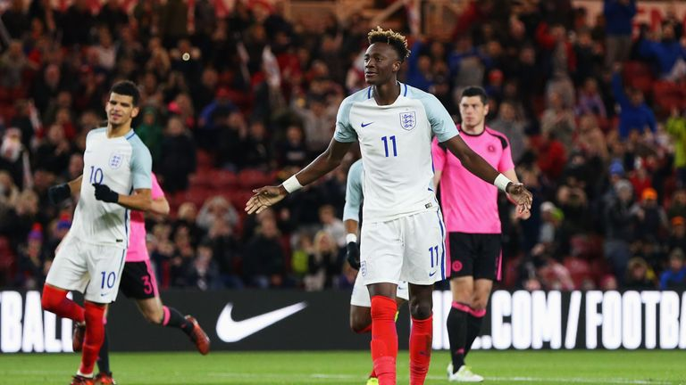MIDDLESBROUGH, ENGLAND - OCTOBER 06:  Tammy Abraham of England celebrates as he scores their second goal from a penalty during the UEFA European Under 21 C