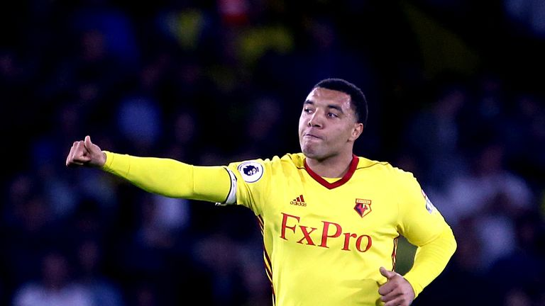 Watford's Troy Deeney celebrates scoring his side's first goal of the game from the penalty spot during the Premier League match at Vicarage Road, Watford.