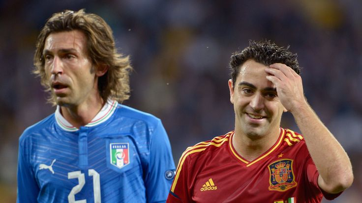 Andrea Pirlo of Italy and Xavi Hernandez of Spain during the UEFA EURO 2012 final match