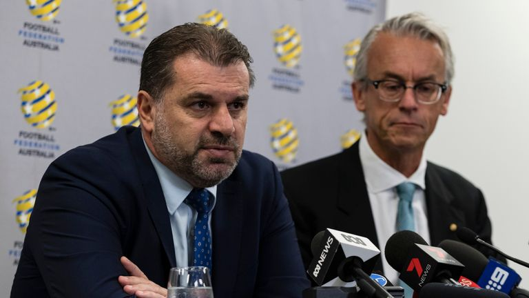 Ange Postecoglou (left), recently linked with a move to Rangers, has resigned from his post as Australia's coach