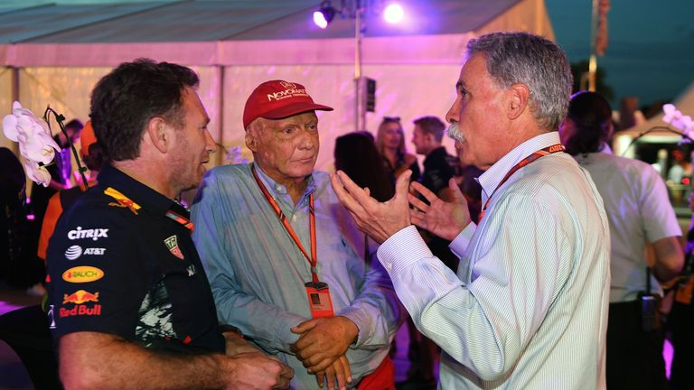 Chase Carey (right) accepts there will be disagreement over F1's future engine rules